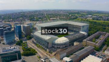 Rotating Drone Shot Of St James' Park Football Stadium In Newcastle Upon Tyne, UK