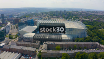 Rotating Drone Shot View Of St James' Park Football Stadium In Newcastle Upon Tyne, UK