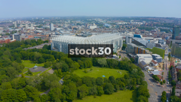 Drone Shot Approaching St James' Park Football Stadium In Newcastle Upon Tyne, UK