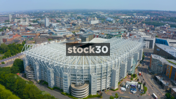 Drone Shot Over St James' Park Football Stadium In Newcastle Upon Tyne, UK