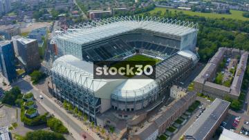 Drone Shot Flying Over St James' Park Football Stadium In Newcastle Upon Tyne, UK