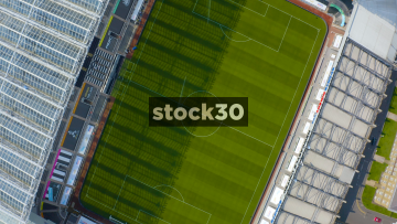 Rotating Overhead Drone Shot Of The Pitch At St James' Park Football Stadium In Newcastle Upon Tyne, UK