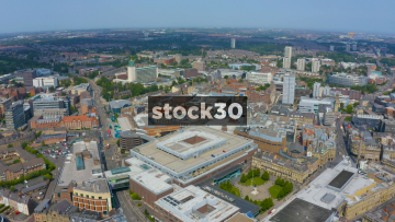 Drone Shot Moving Sideways Over Newcastle Upon Tyne City Centre, UK