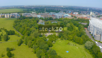 Drone Shot Over St James' Park In Newcastle Upon Tyne, UK