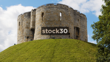 Clifford's Tower In York, Close Up Followed By Wide Shot, UK