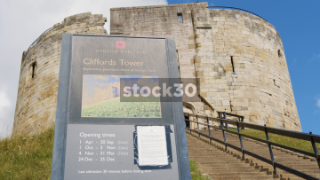 Clifford's Tower In York, English Heritage Sign, UK