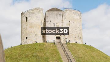 Timelapse Shot Of Clifford's Tower In York, UK