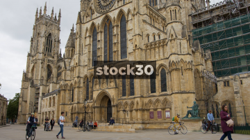 York Minster Cathedral With Pedestrians And Tourists, UK