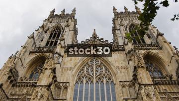 York Minster Cathedral, Tilt Down Building Followed by Panning Shot, UK