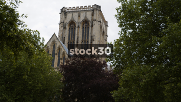 York Minster Cathedral, Viewed From Behind Trees Of Surrounding Grounds, UK