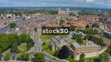 Drone Shot Over York With Clifford's Tower And York Minster Cathedral, UK