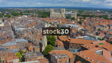Drone Shot Flying Backwards Over York, Including York Minster And Clifford's Tower, UK