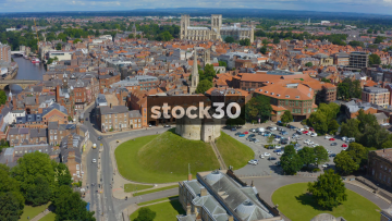 Drone Shot Over Clifford's Tower In York, With Camera Tilt Down, UK