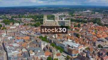 Drone Shot Approaching York Minster, UK
