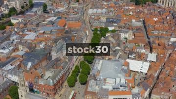 Drone Shot Over Pedestrian Shopping Area In York, UK