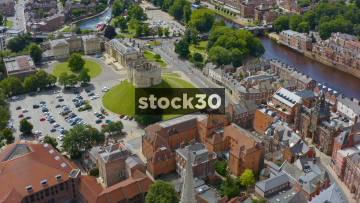 Drone Shot Over Clifford's Tower In York, UK