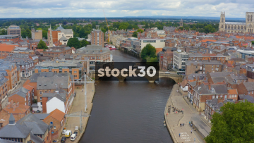 Drone Shot Over The River Ouse And Ouse Bridge In York, UK