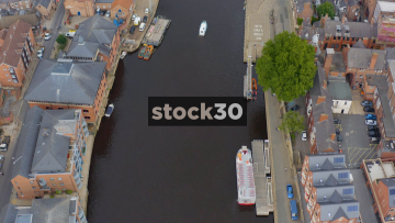 Overhead Drone Shot Of The River Ouse In York, Approaching Ouse Bridge, UK