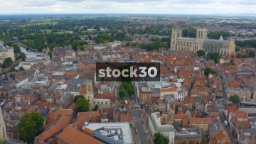 Drone Shot Over York City Centre, Approaching York Minster Cathedral, UK