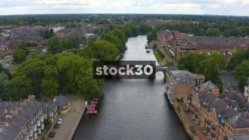 Drone Shot Over Skeldergate Bridge And The RIver Ouse In York, UK