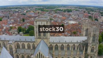 Drone Shot Descending Down York Minster cathedral, UK