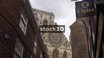 View Of York Minster Cathedral Down Minster Gates, Time-lapse, UK