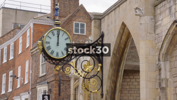 Ornate Gold 18th Century Clock In York, Close Up And Wide, UK