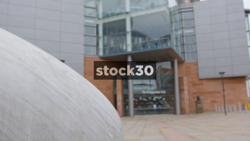 The Bridgewater Hall In Manchester, Focus Pull From Pebble Sculpture, UK