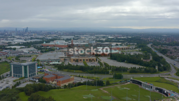 Drone Shot Approaching The Trafford Centre In Manchester, UK