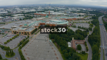 Drone Shot Flying Over The Trafford Centre In Manchester, UK