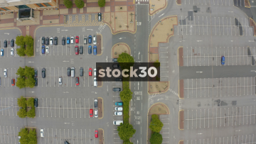 Overhead Drone Shot Of The Trafford Centre Car Park In Manchester, UK