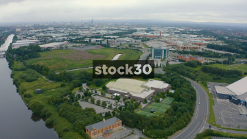 Drone Shot Approaching Trafford Centre From A Distance, Manchester, UK