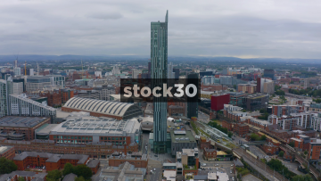 Drone Shot Orbiting Clockwise Around The Beetham Tower In Manchester, UK