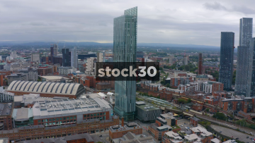 Drone Shot Orbiting Anticlockwise Around The Beetham Tower In Manchester, UK