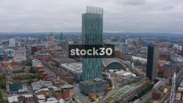 Drone Shot Orbiting Clockwise Around The Beetham Tower Building In Manchester, UK