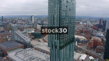 Drone Shot Orbiting Close Around Beetham Tower In Manchester, UK