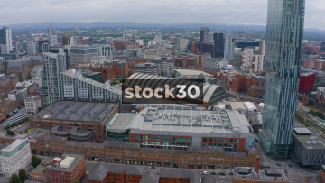 Drone Shot Flying Past Beetham Tower And Over Manchester City Centre, UK