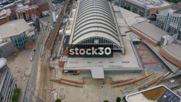 Drone Shot Flying Over Manchester Central Exhibition Centre, UK