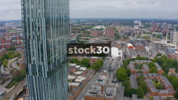 Drone Shot Flying Past Beetham Tower In Manchester City Centre, UK