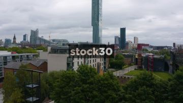 Drone Shot Ascending In Altitude In Manchester City Centre, UK