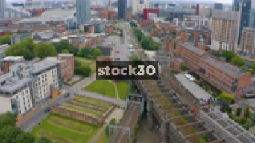Drone Shot Over Railway And Metrolink Tram Lines In Manchester, UK