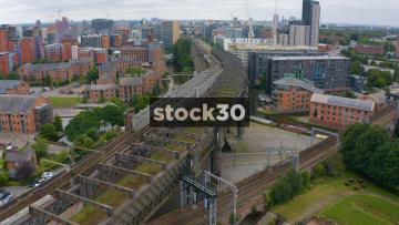 Drone Shot Over Disused Victorian Railway Bridge In Manchester City Centre, UK