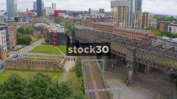 Drone Shot Of Railway Line In Castlefield, Manchester, UK