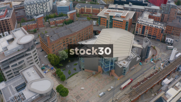 Drone Shot Of The Bridgewater Hall In Manchester, Clockwise Orbit, UK