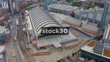 Drone Shot Orbiting Around Manchester Central Exhibition Centre, Anticlockwise, UK