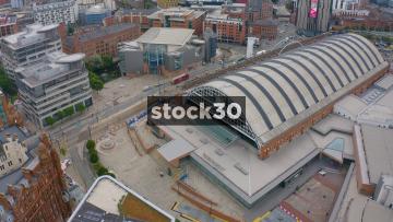 Drone Shot Orbiting Around Manchester Central Exhibition Centre, Clockwise, UK