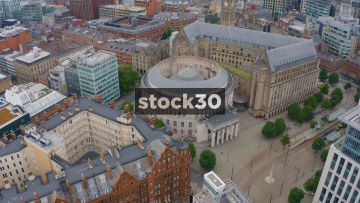 Drone Shot Orbiting Around Manchester Central Library, UK