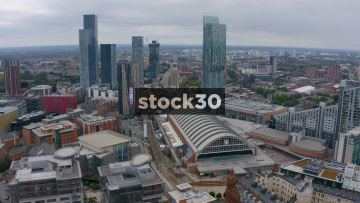 Drone Shot Over Manchester City Centre, UK