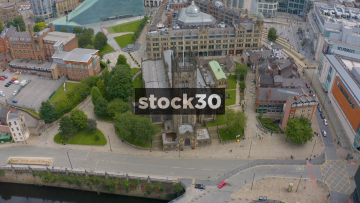 Drone Shot Orbiting Anticlockwise Around Manchester Cathedral, UK