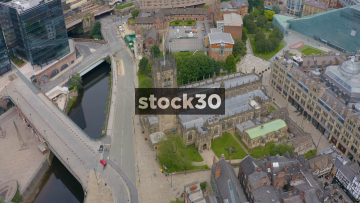 Drone Shot Orbiting Clockwise Around Manchester Cathedral, UK